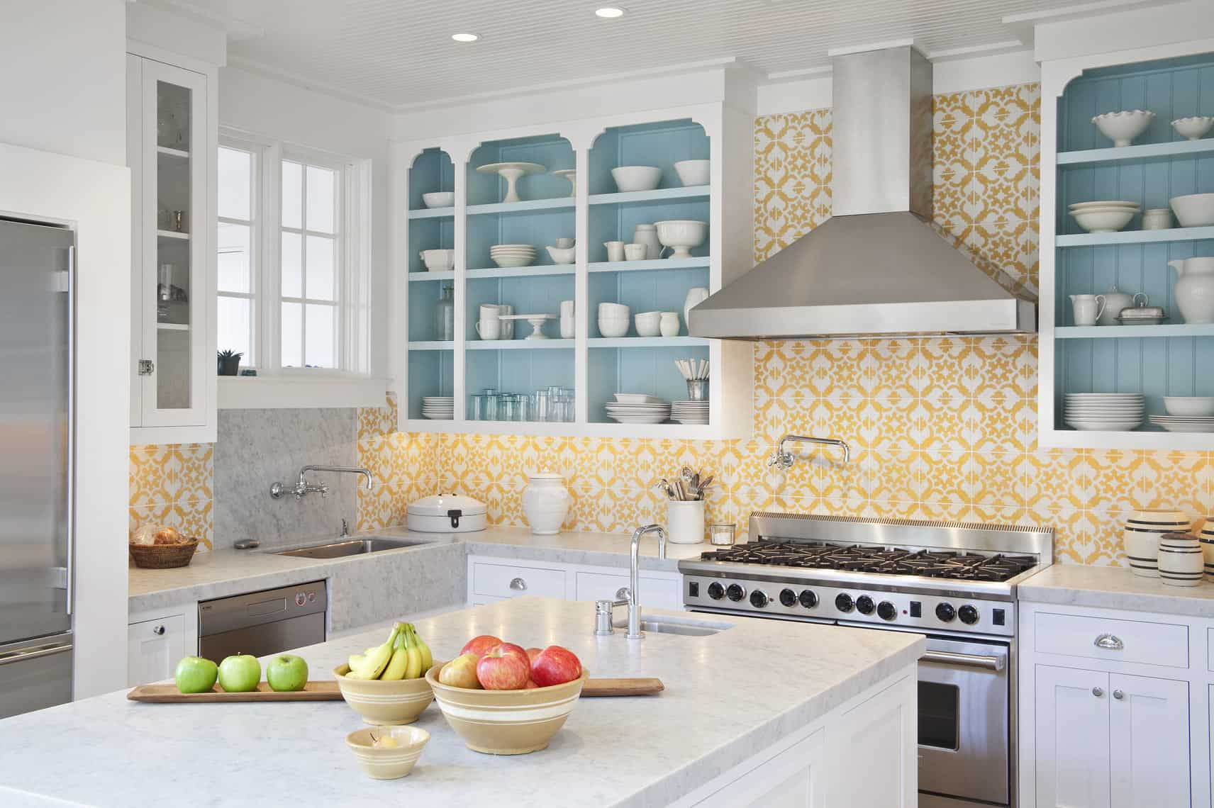colorful open cabinets