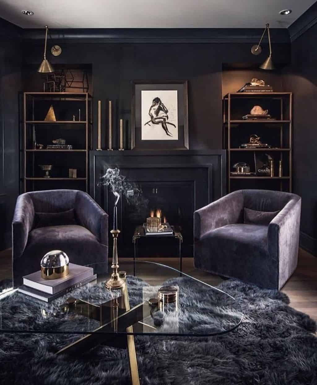 darker shades in living room  Feminine Living Rooms With A Masculine Touch