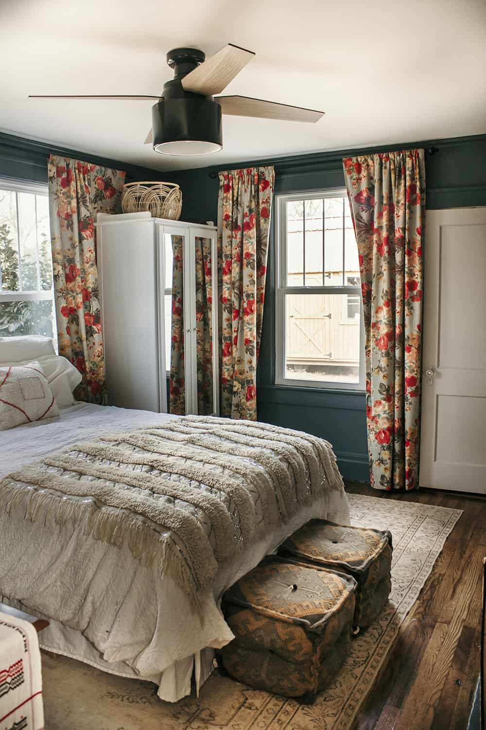 floral curtains in bedroom