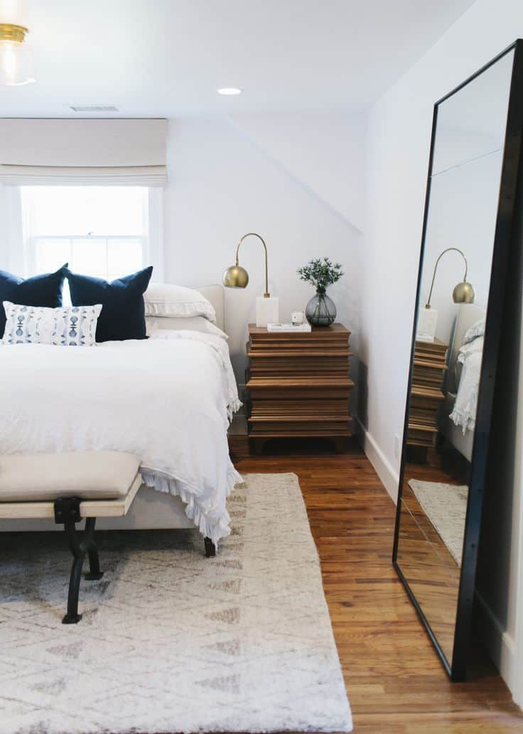 large mirrors in modern bedroom