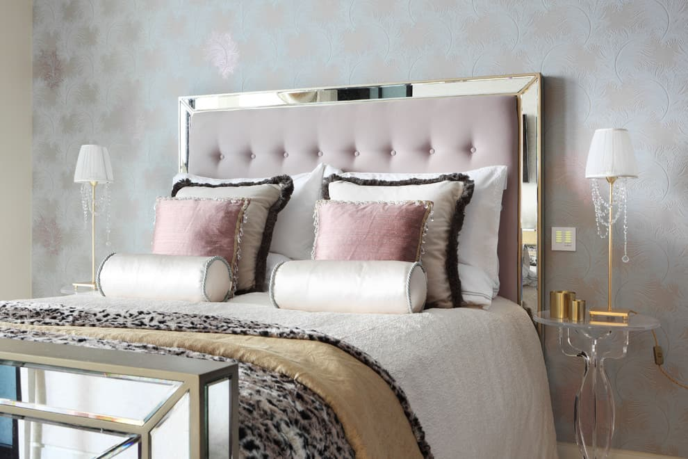 modern bedroom with metallics