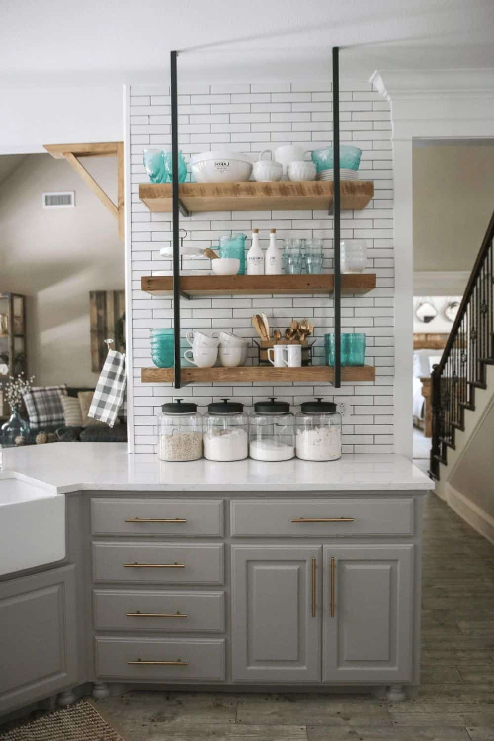 open shelving against tiles