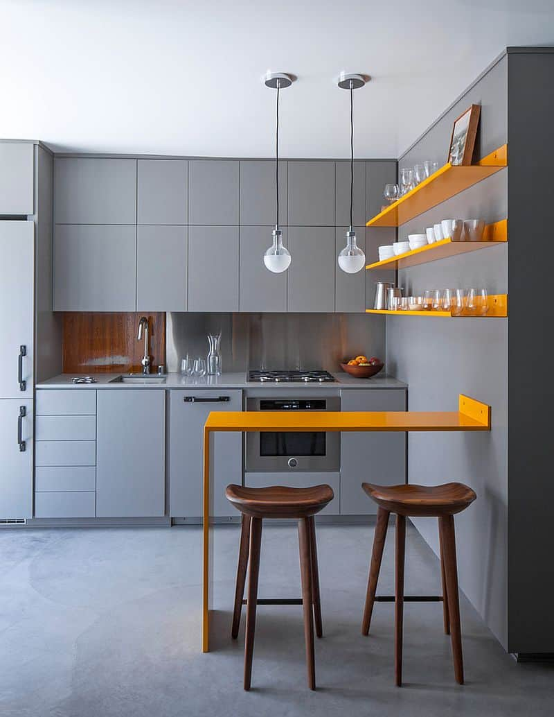 tiny kitchen with yellow