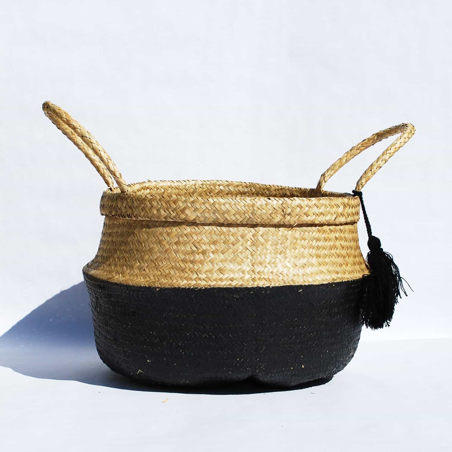 two tone woven seagrass foldable storage basket