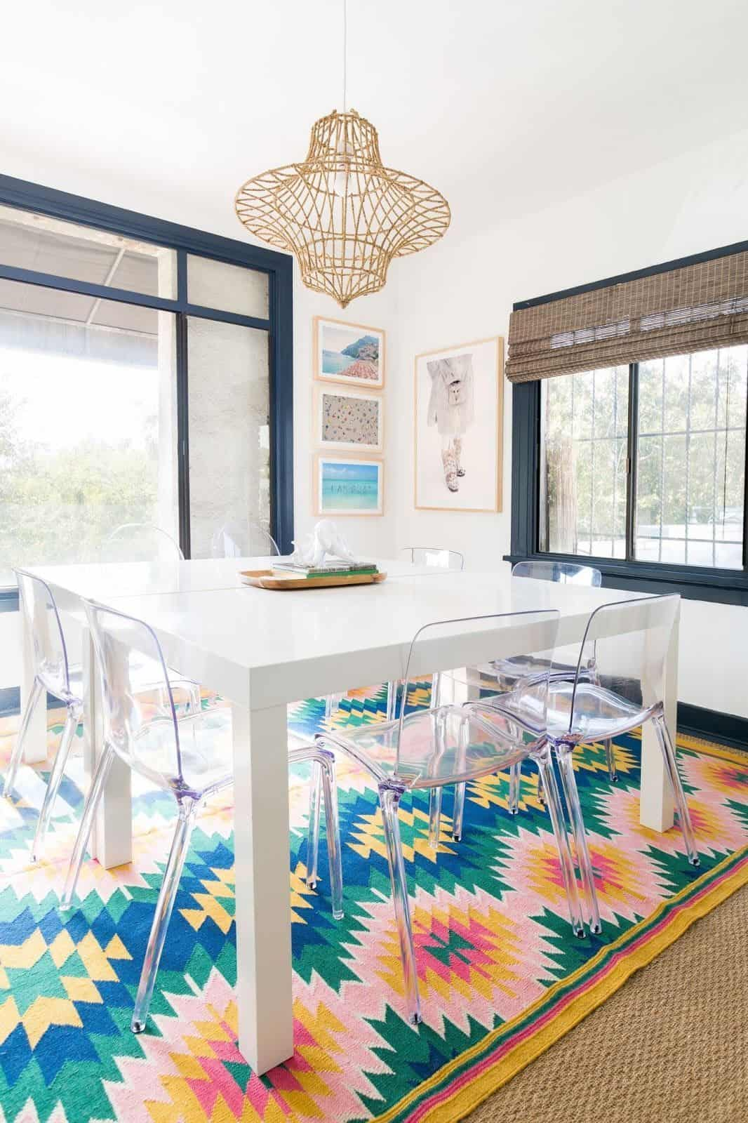 bold rug in dining room