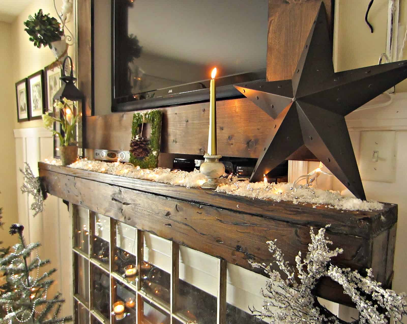 fake snow on mantel Pinecone Decorations That Bring Nature To Your Home