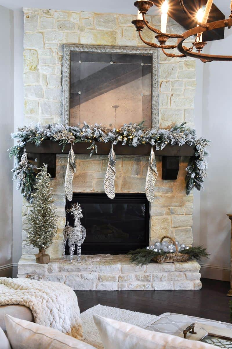 garland on fireplace