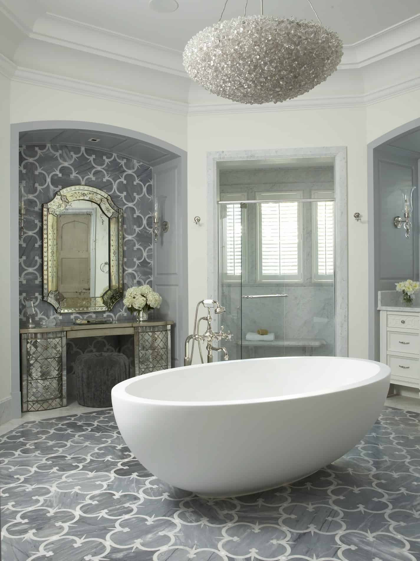 stand alone tub with monochromatic 11 Modern Bathrooms That Will Inspire Your Creativity