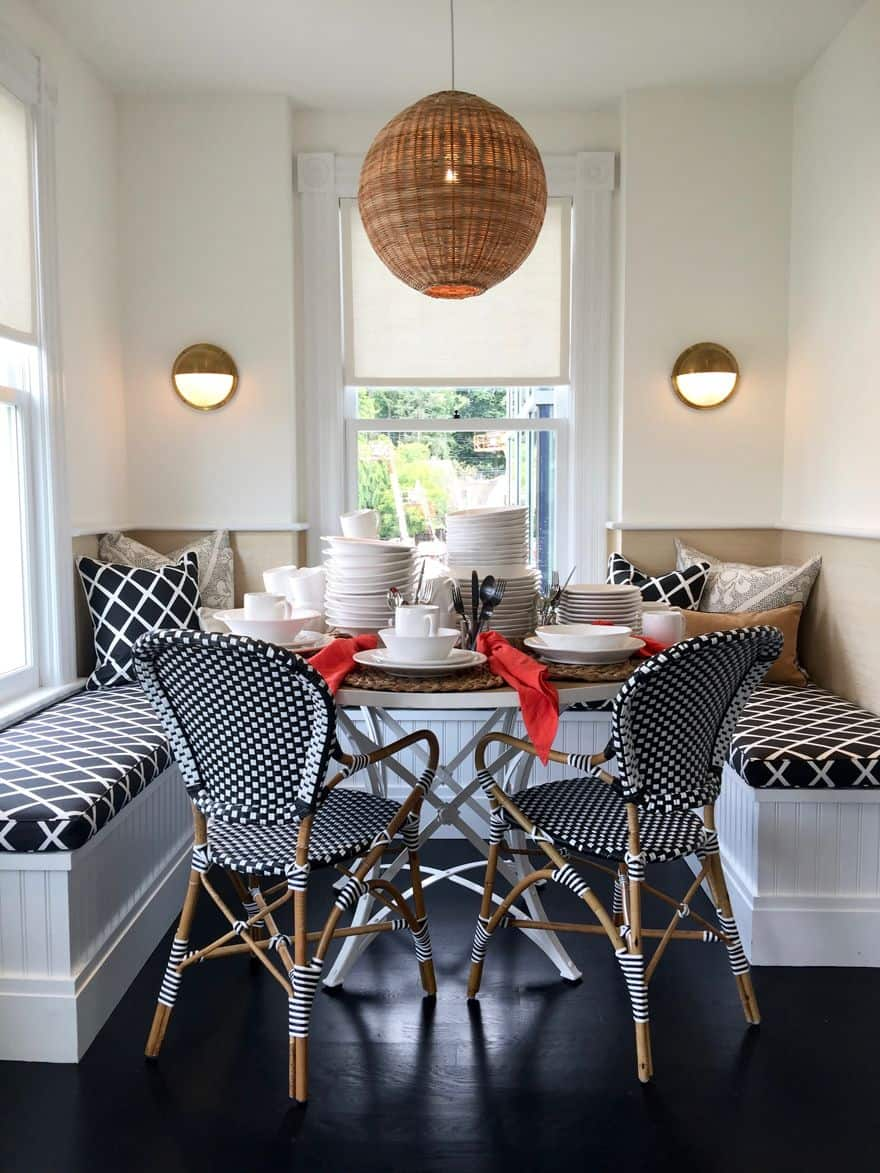 black and white banquette