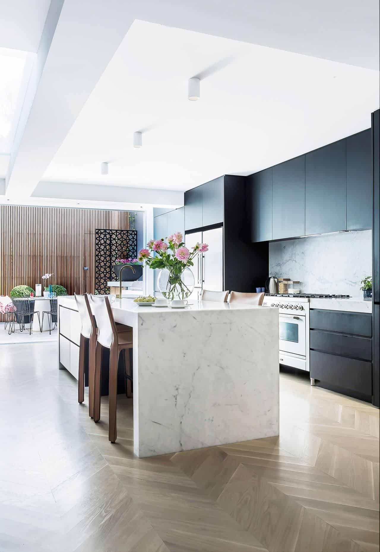 black cabinets with marble 2