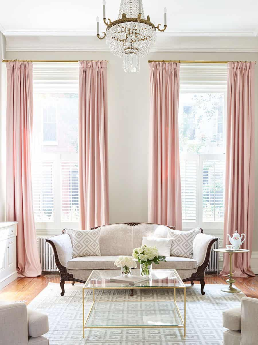 blush curtains