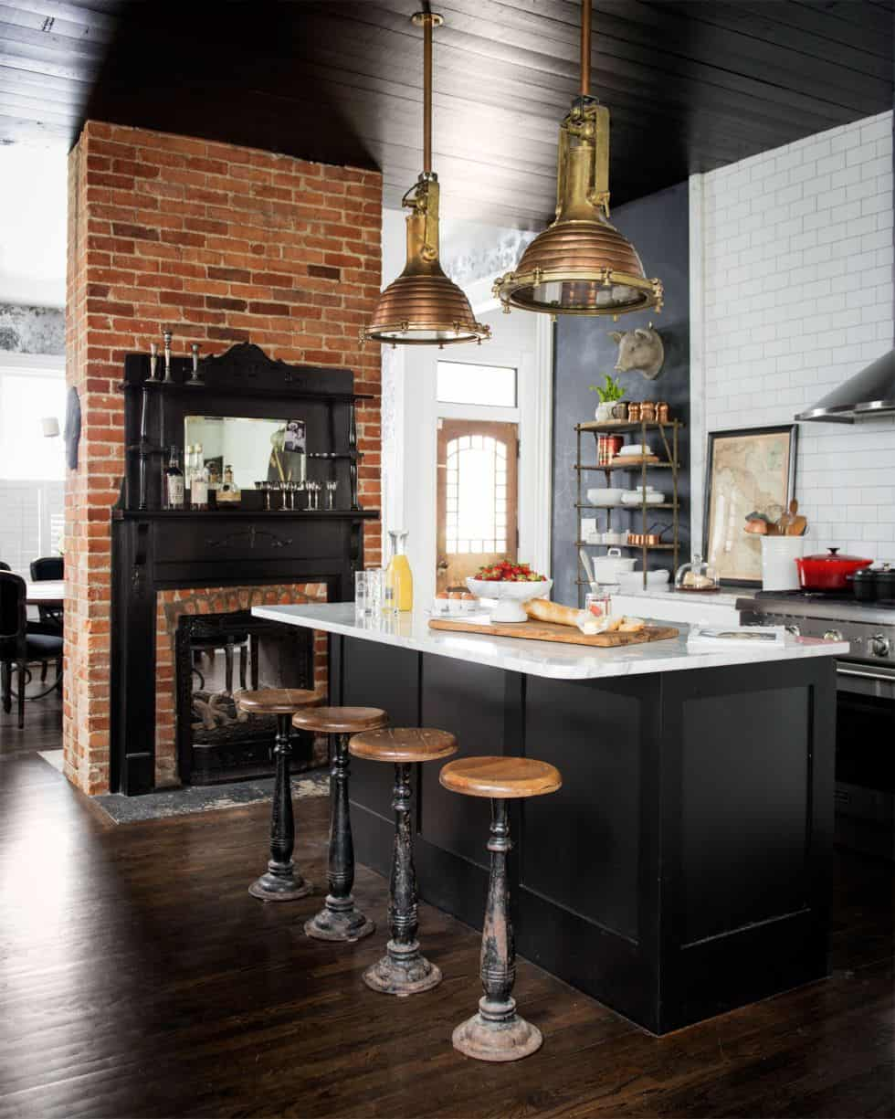 exposed brick industrial kitchen Industrial Kitchens That Will Take Your Breath Away