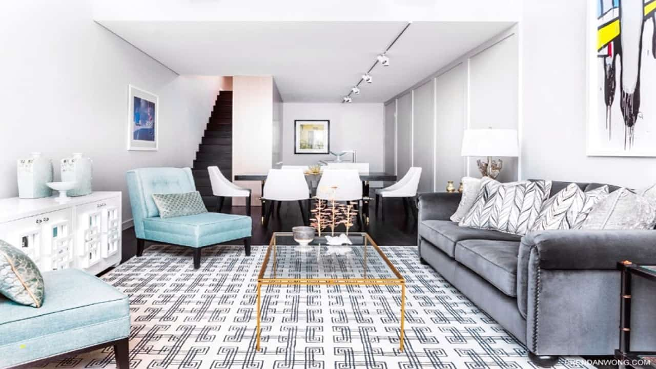 turquoise rugs for living room New Living Room Turquoise Blue Chairs Gray Sofa Geometric Rug