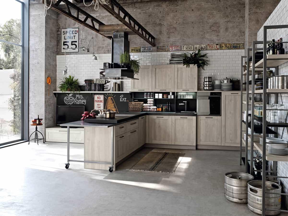industrial kitchen open floor pln