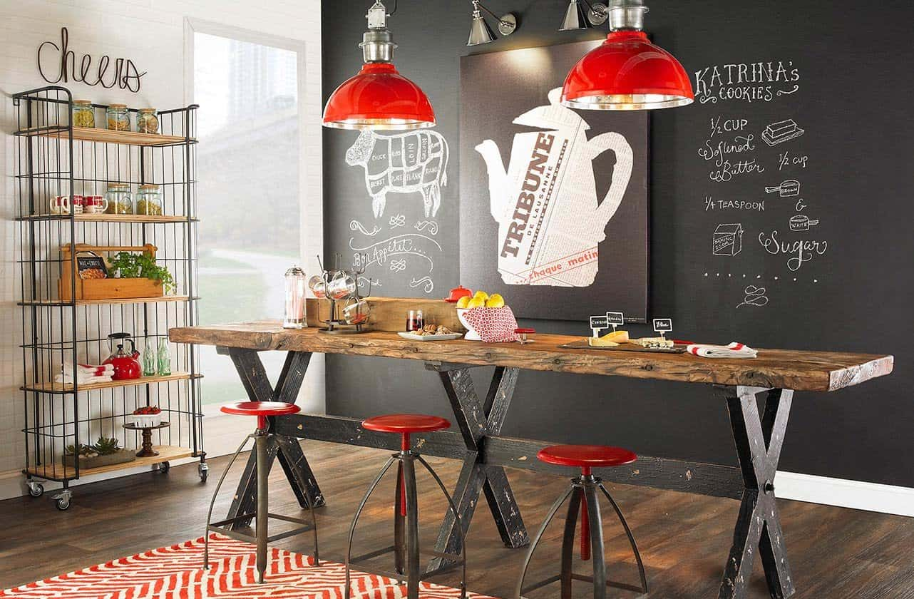 industrial kitchen with color