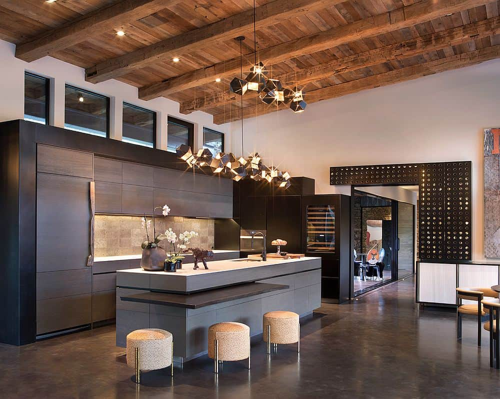 industrial kitchen with concrete floors