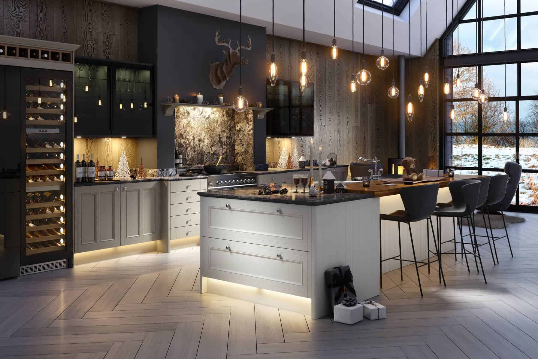 industrial kitchen with pendants