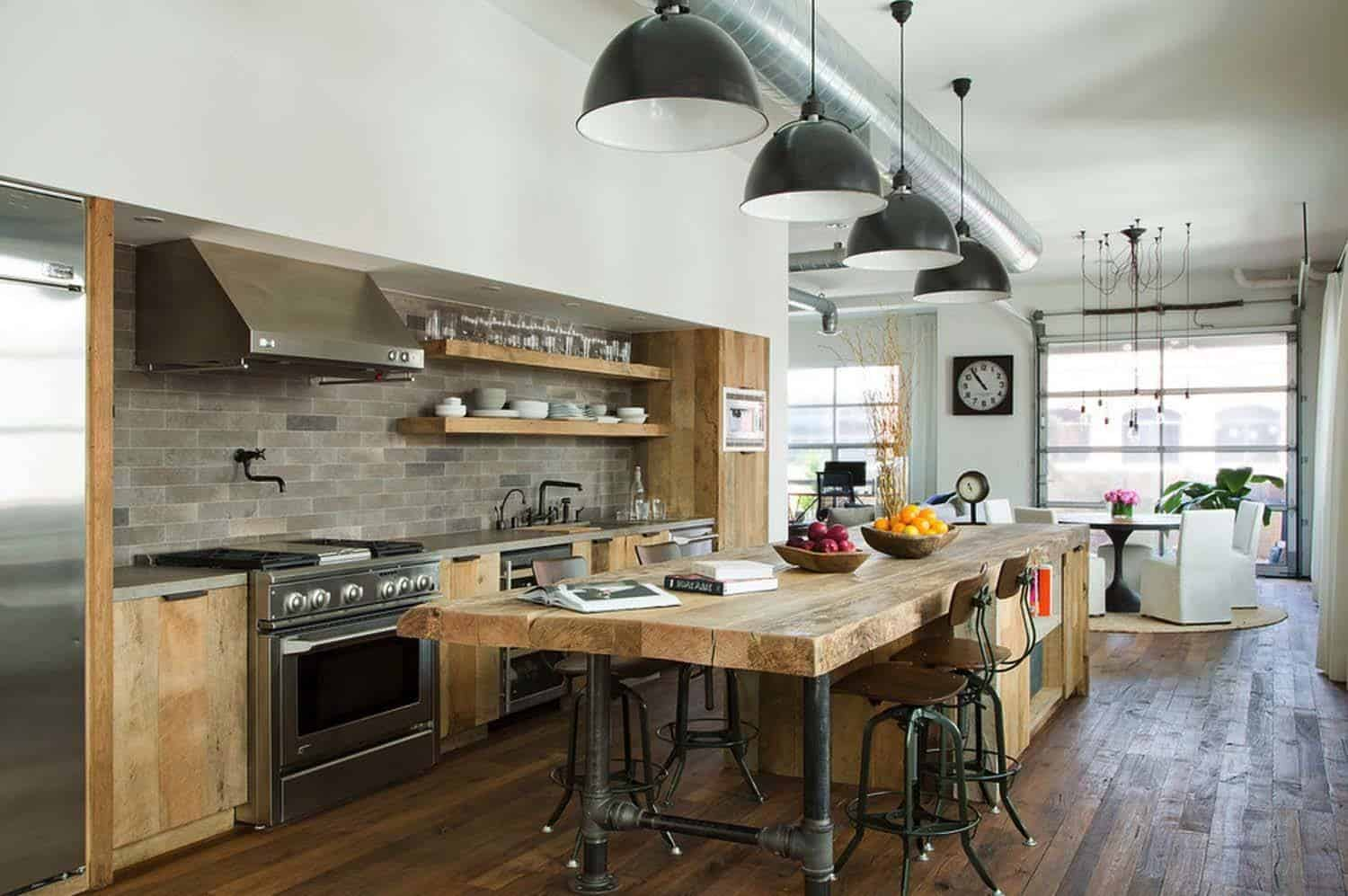 industrial kitchen with wood