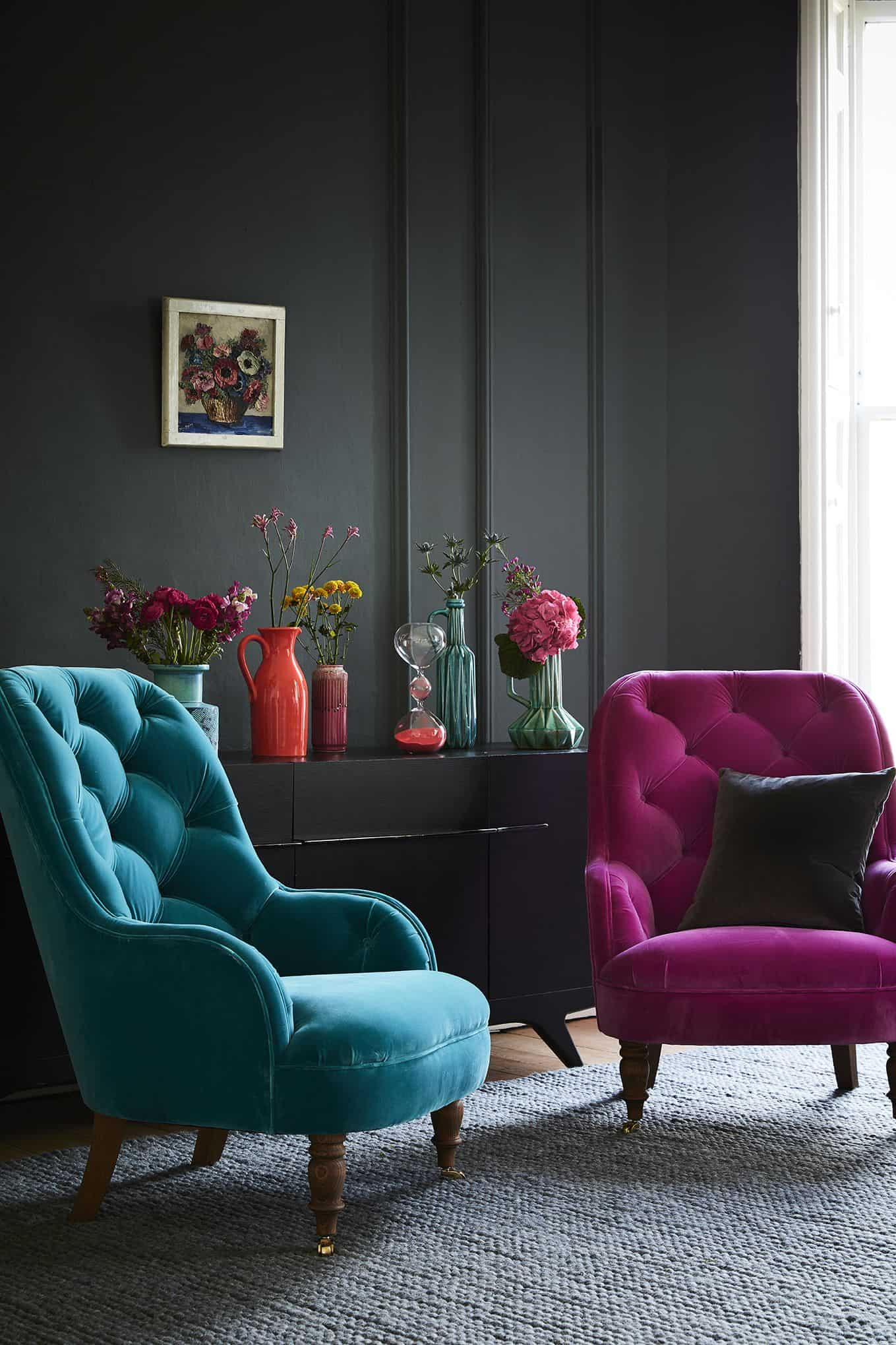 lving room with jewel tones