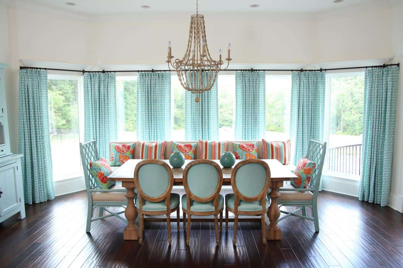 sheer curtains in dining room