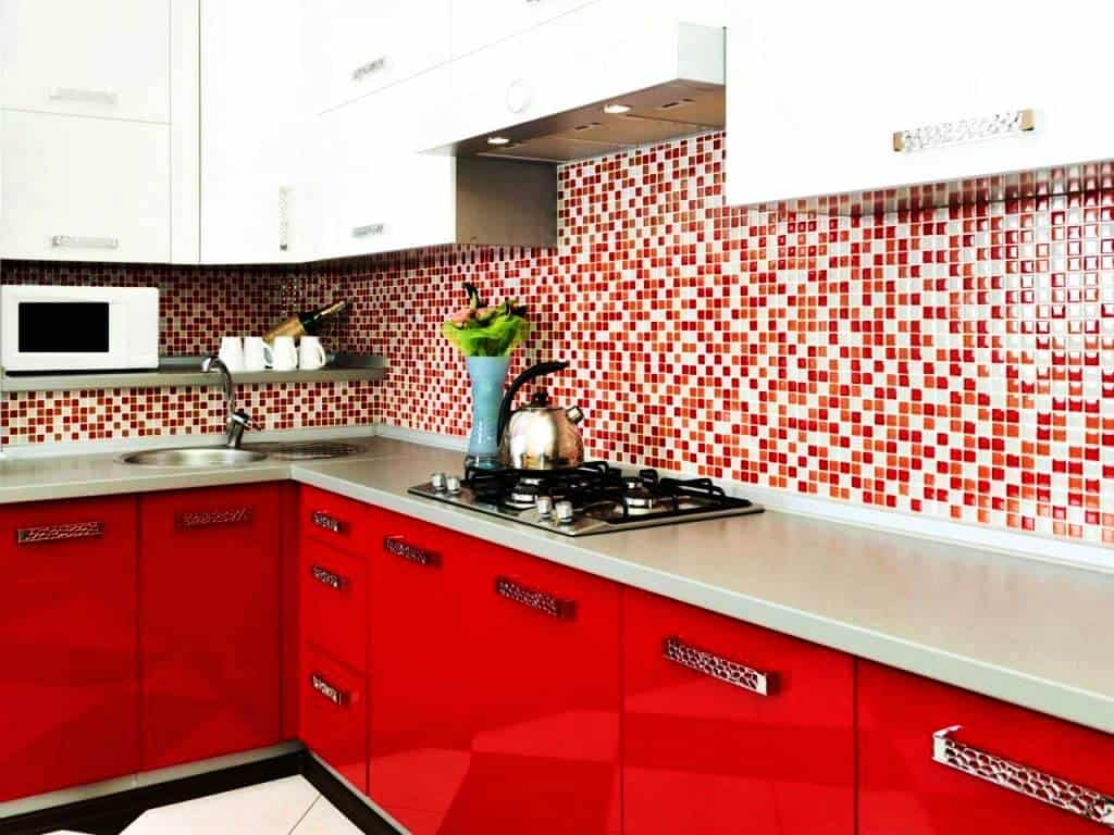small kitchen with color