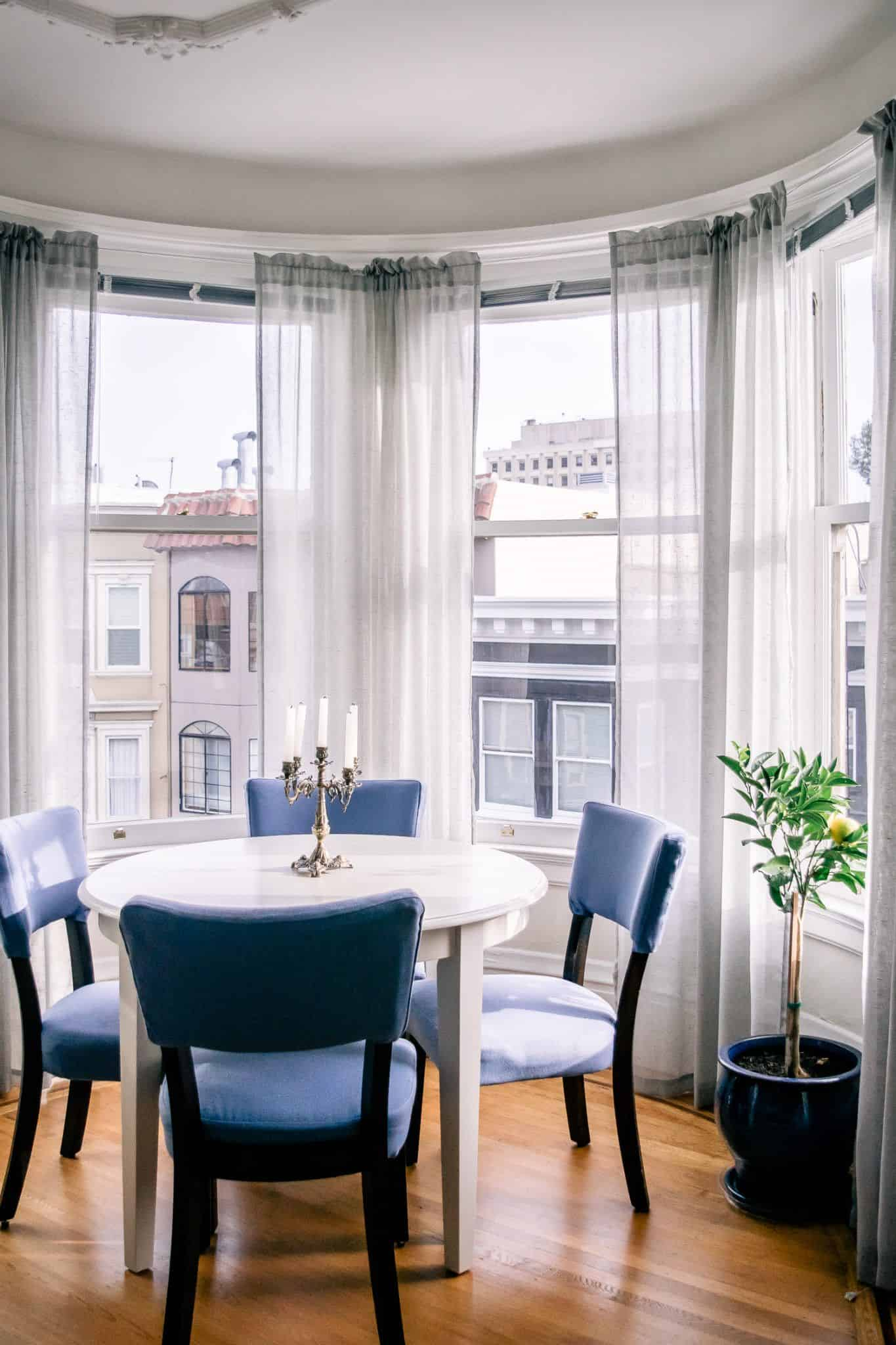 white dining room with blue
