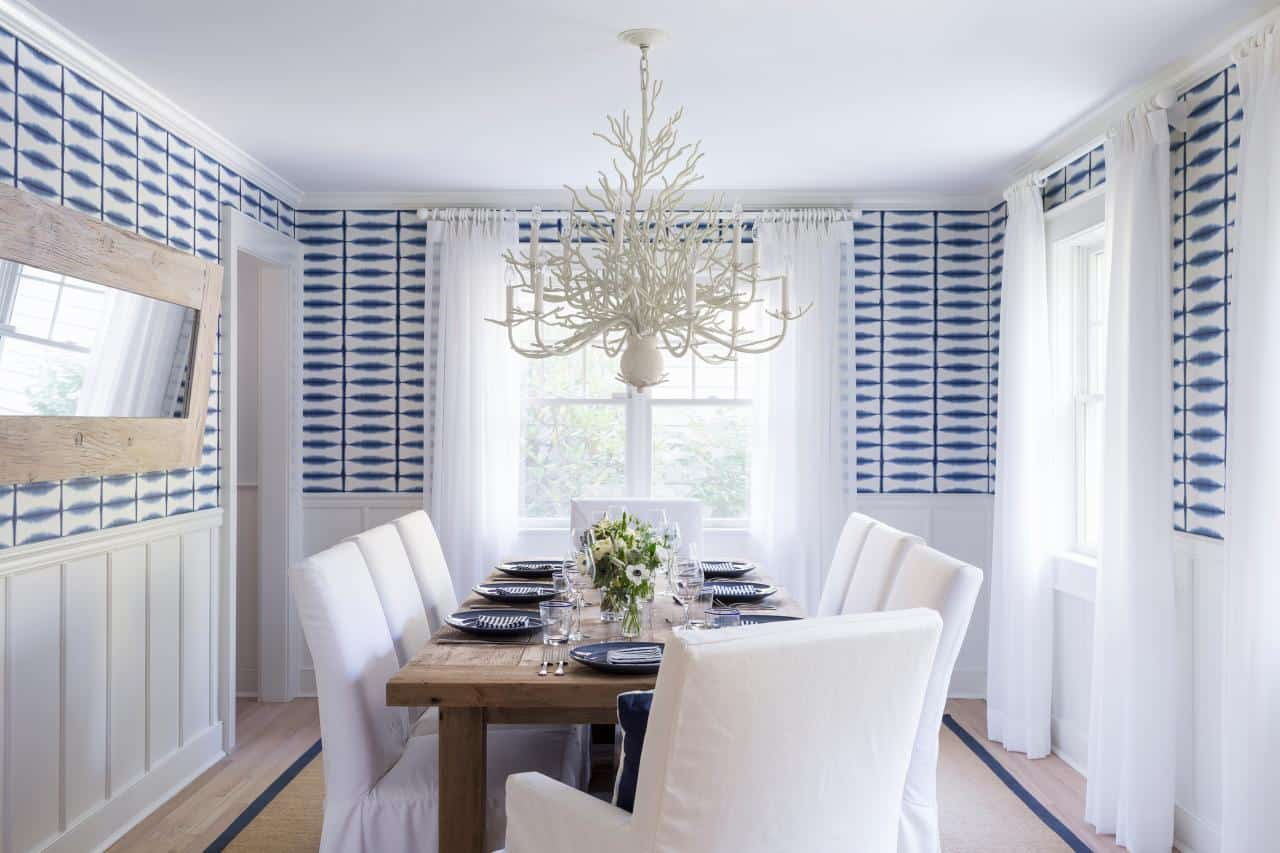 white dining room with wallpaper