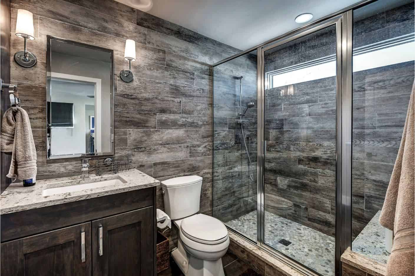 dark master bathroom