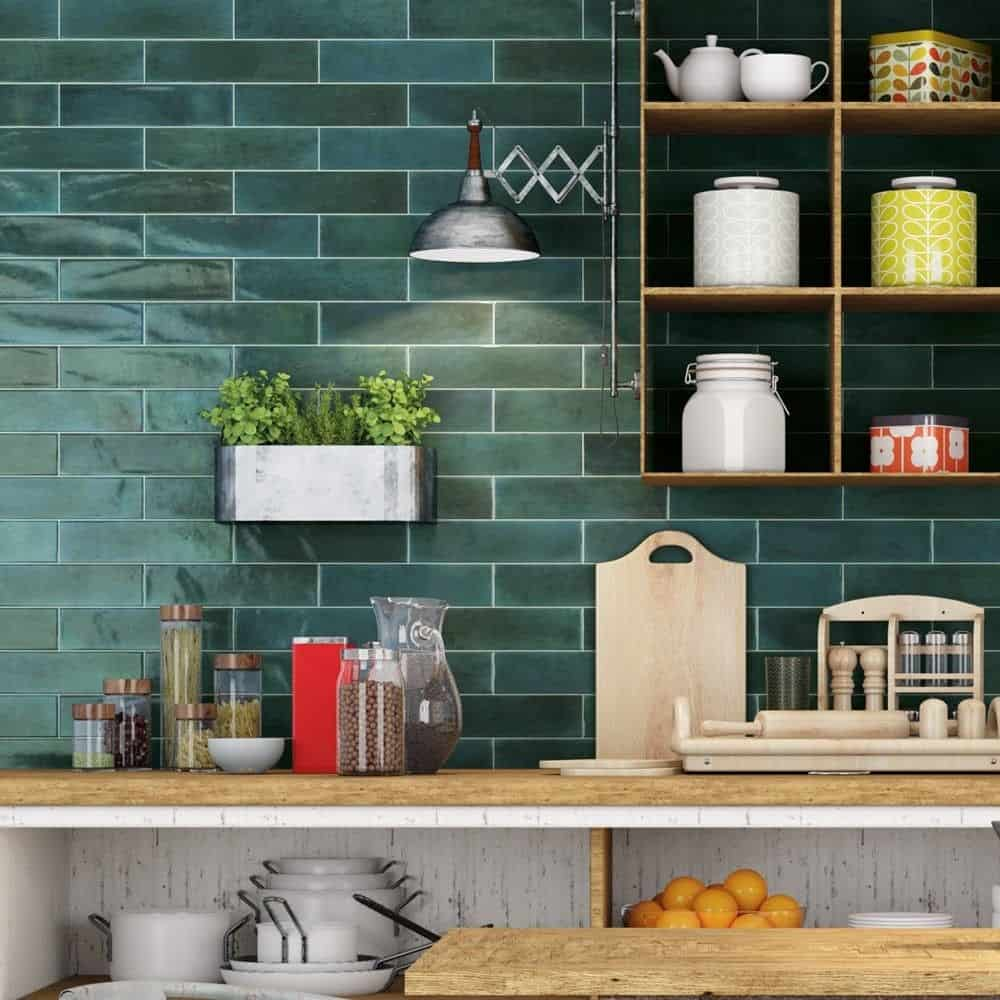 emerald tiles in the kitchen