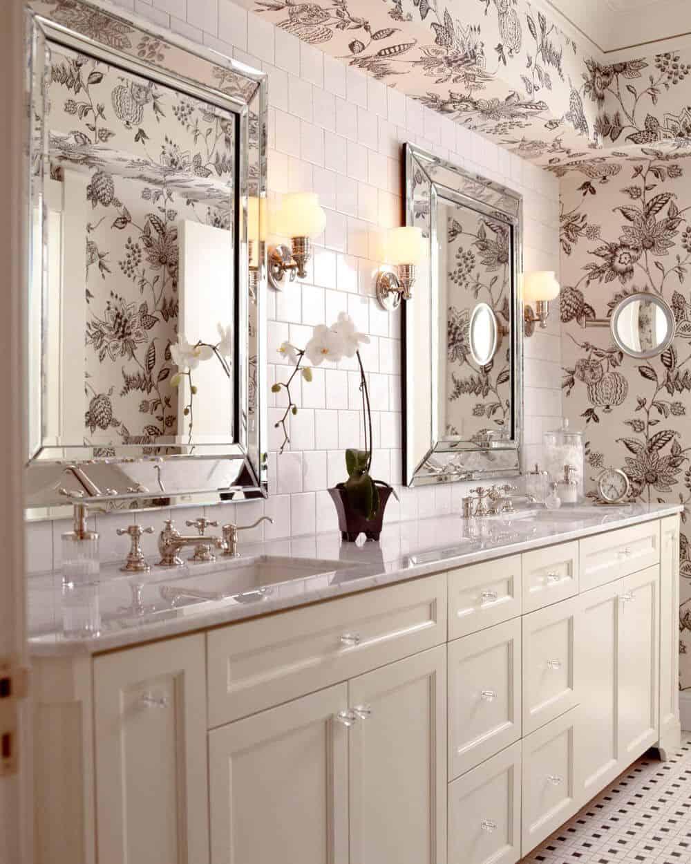 floral wallpaper in master bath