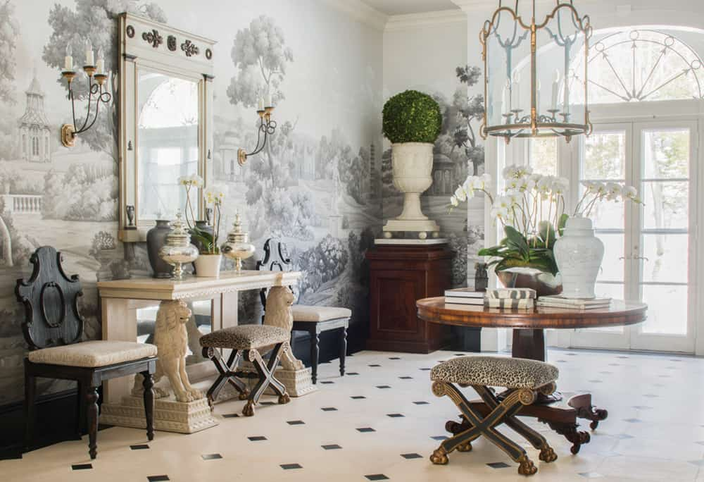 gray greenery foyer Wallpapered Foyers For An Elegant Entrance To Your Home