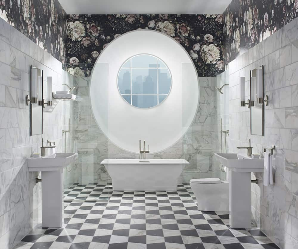 master bathroom patterned flooring