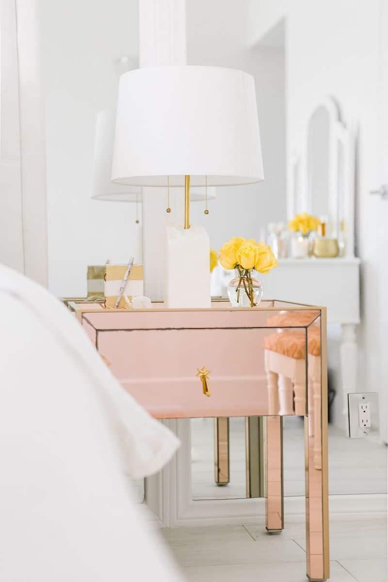 metallic bedside table