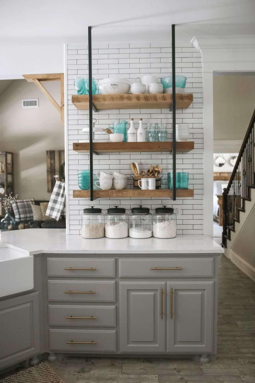 open shelving against tiles