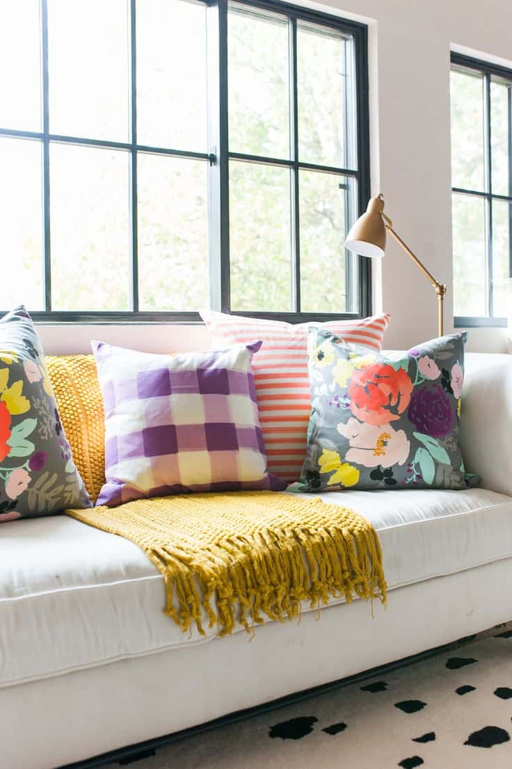 pattern pillows on sofa