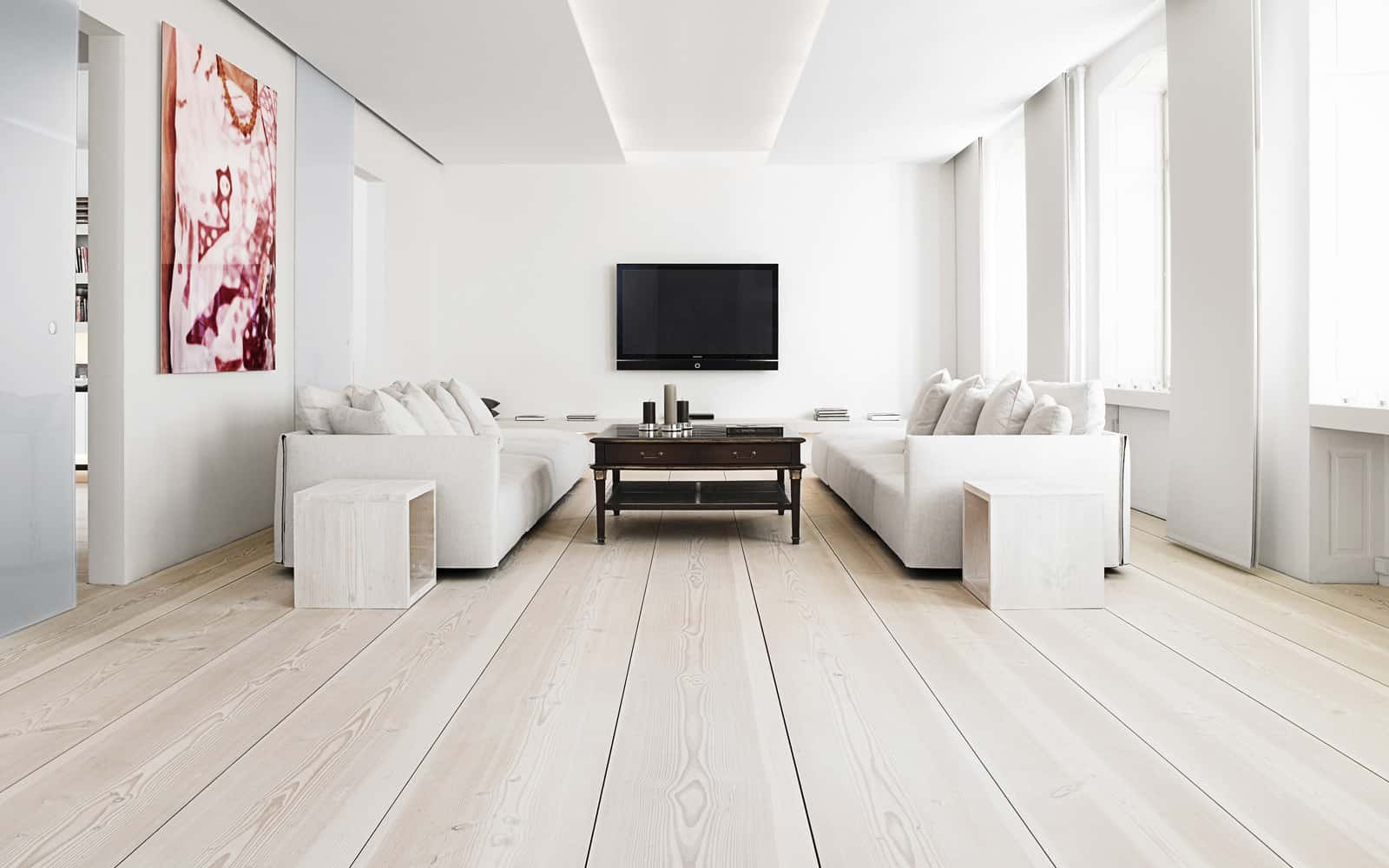 plank floors in lving room