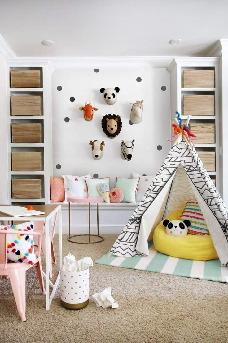 playroom with a tent