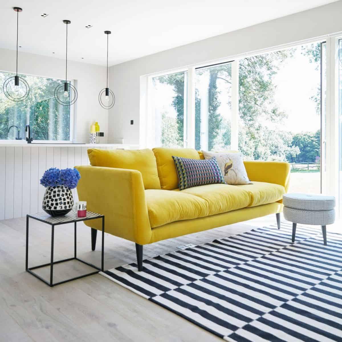 pops of yellow in living room