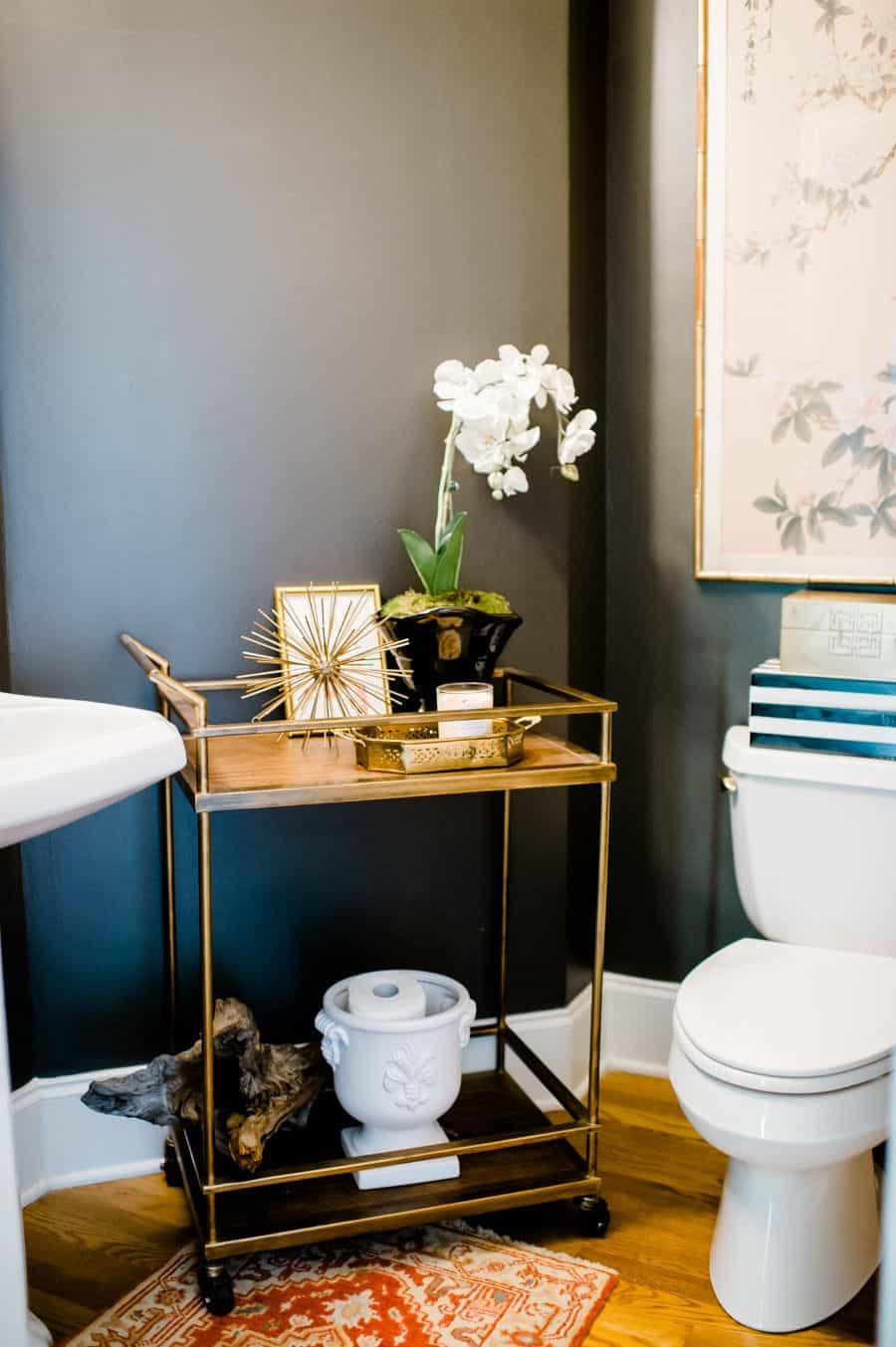 bar cart in bathroom Sneaky Storage Tricks For Smaller Bathrooms
