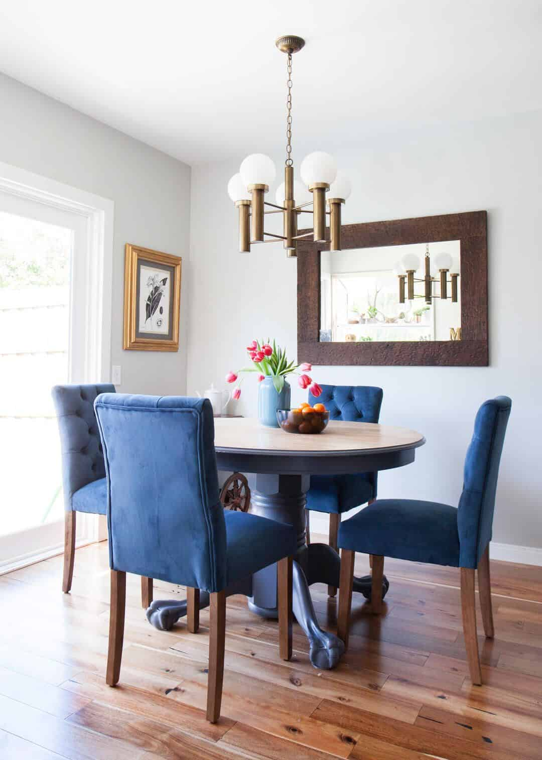 blue and brass Time To Upgrade Your Breakfast Space
