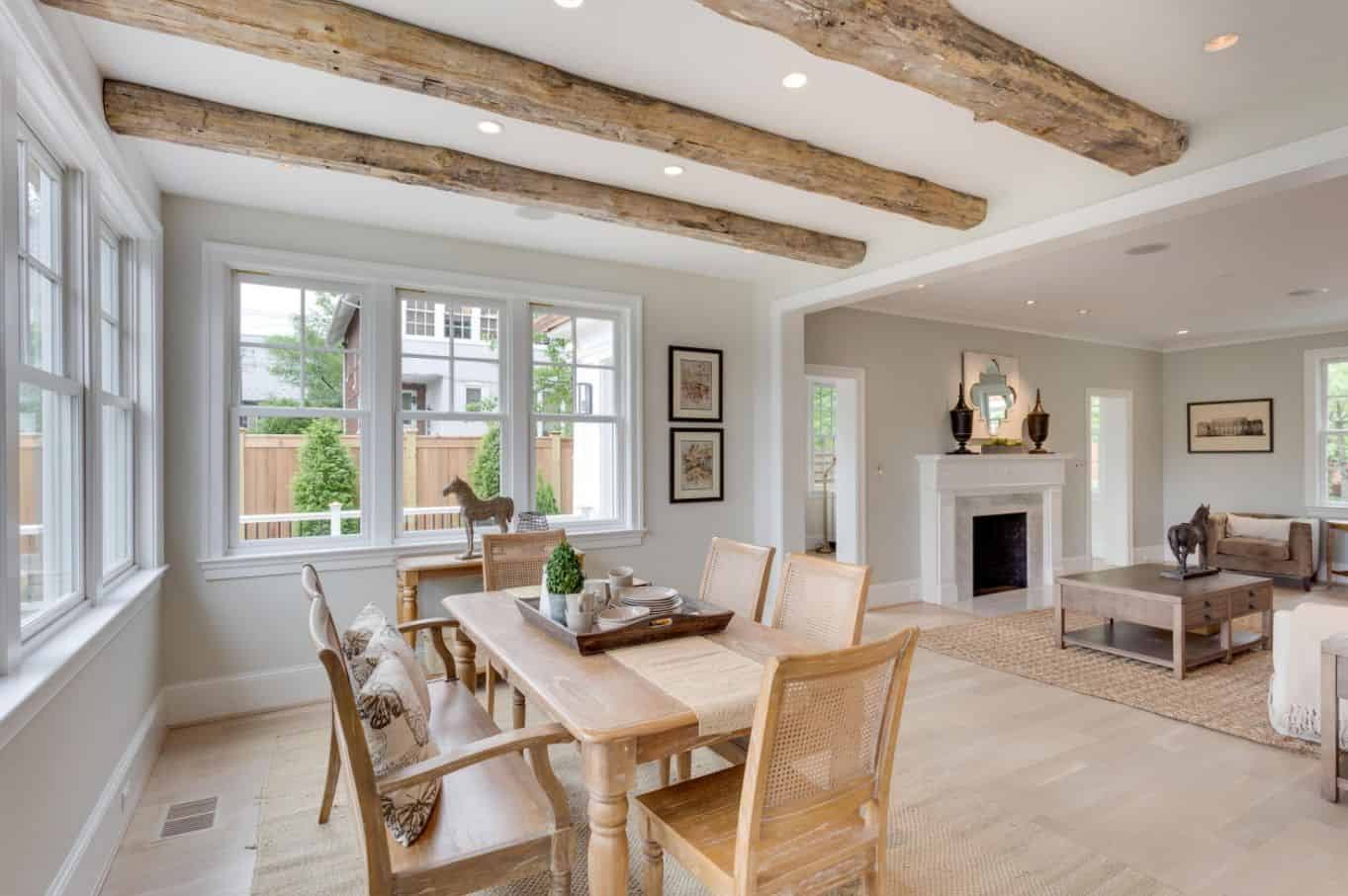 cohesive beams in dining room