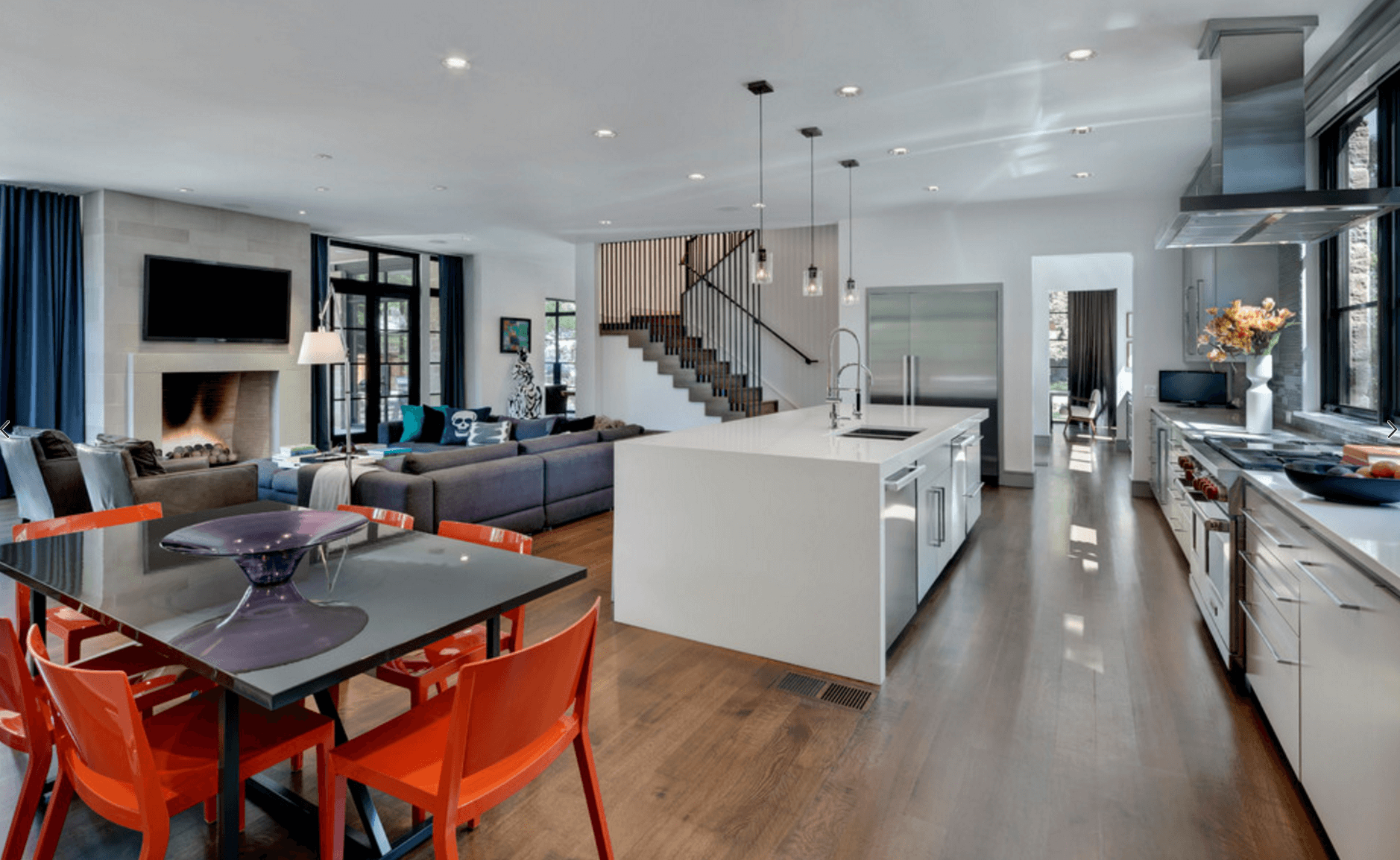 contemporary decor in open floor plan