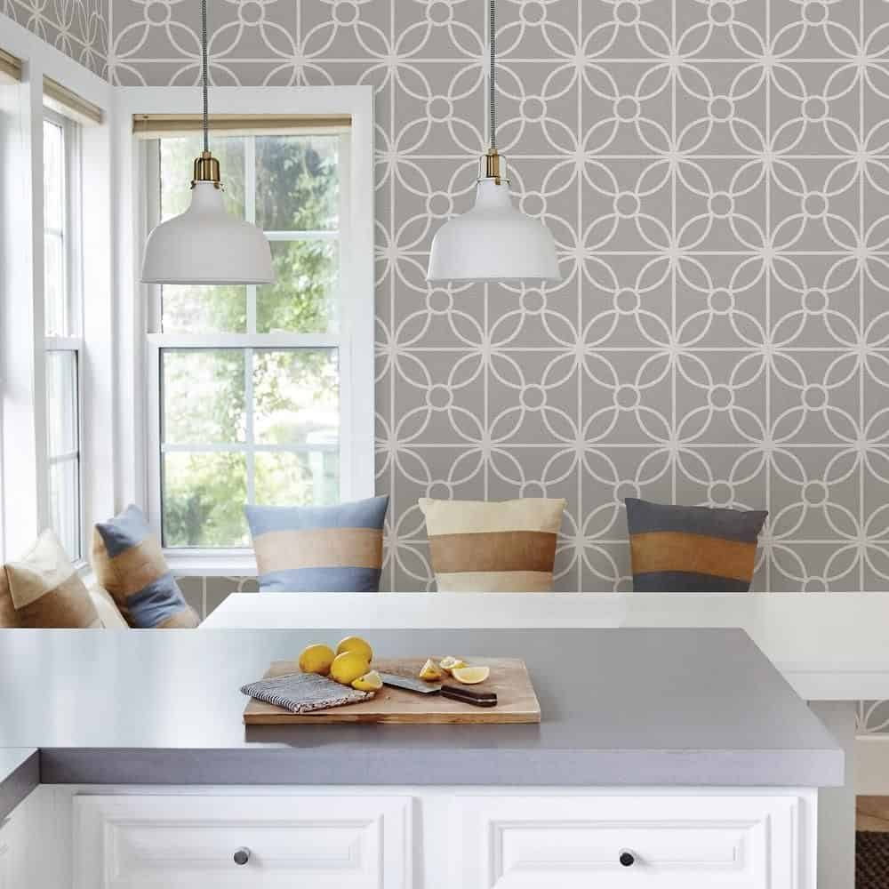 8 In X 10 In Savvy Grey Geometric Wallpaper Sample  Products