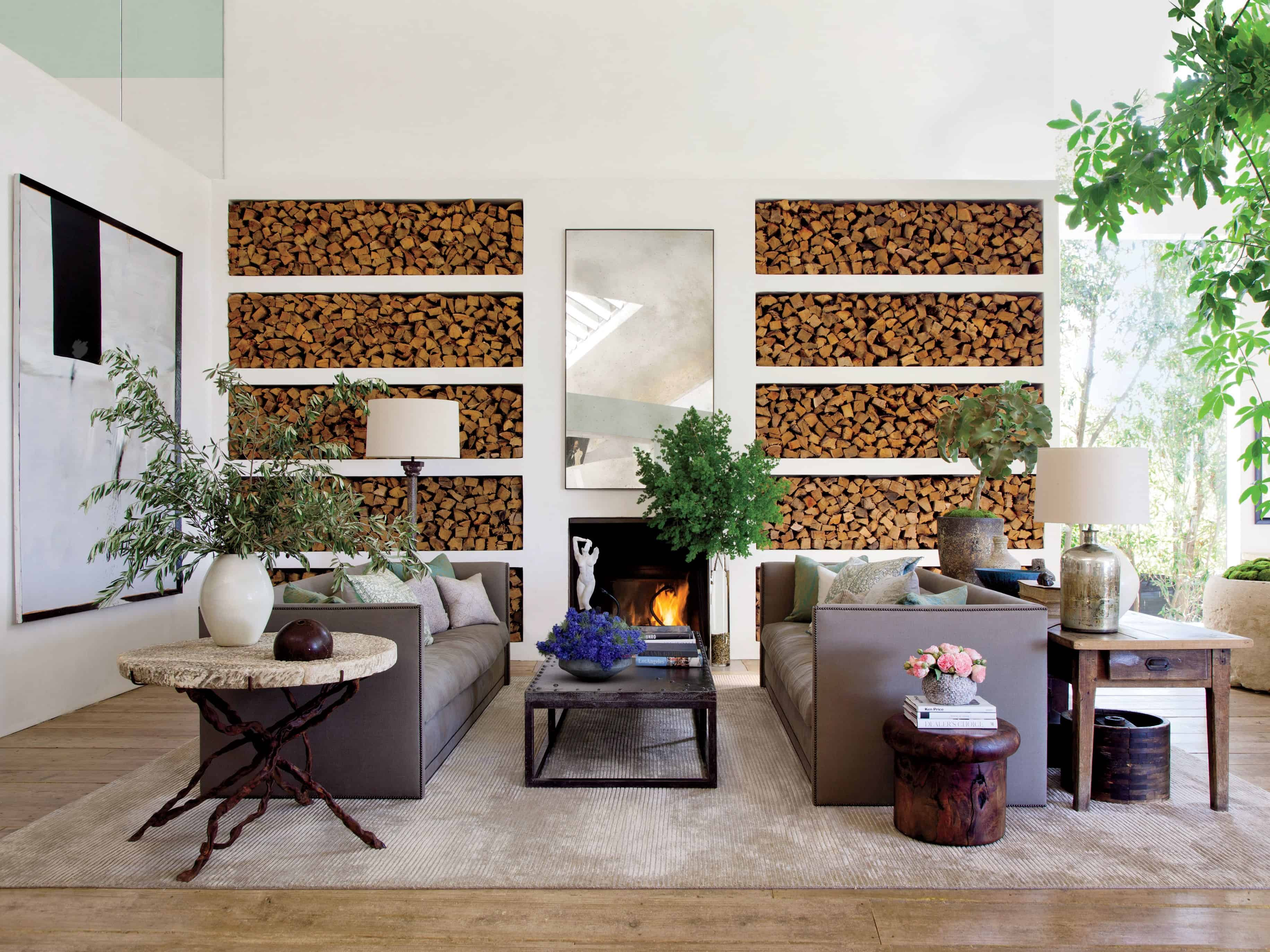 grand fireplace with decor behind
