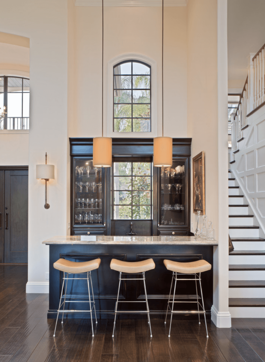 home bar with stools