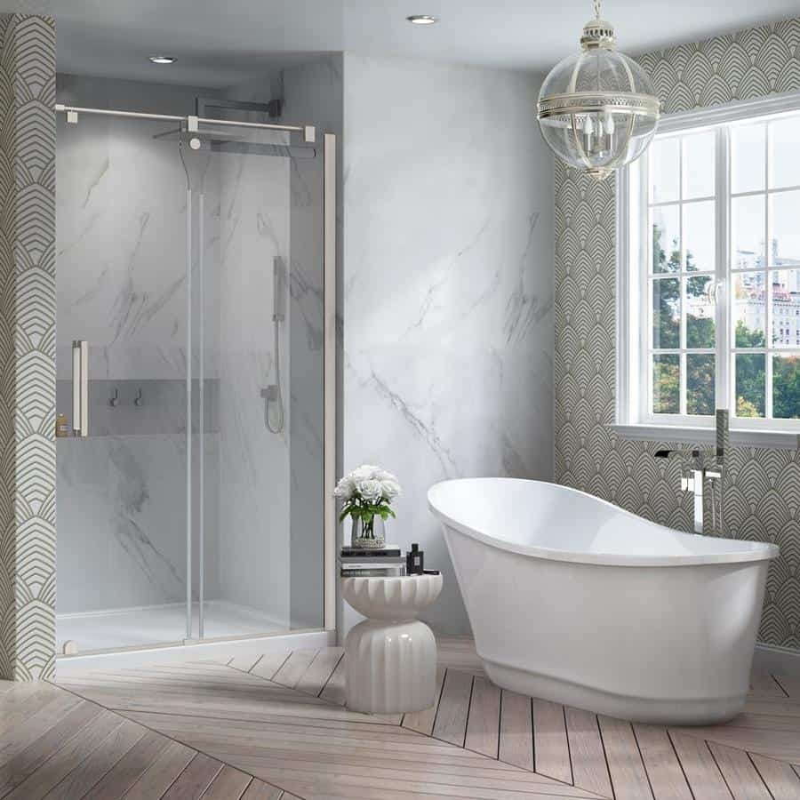 stand alone tub in bathroom