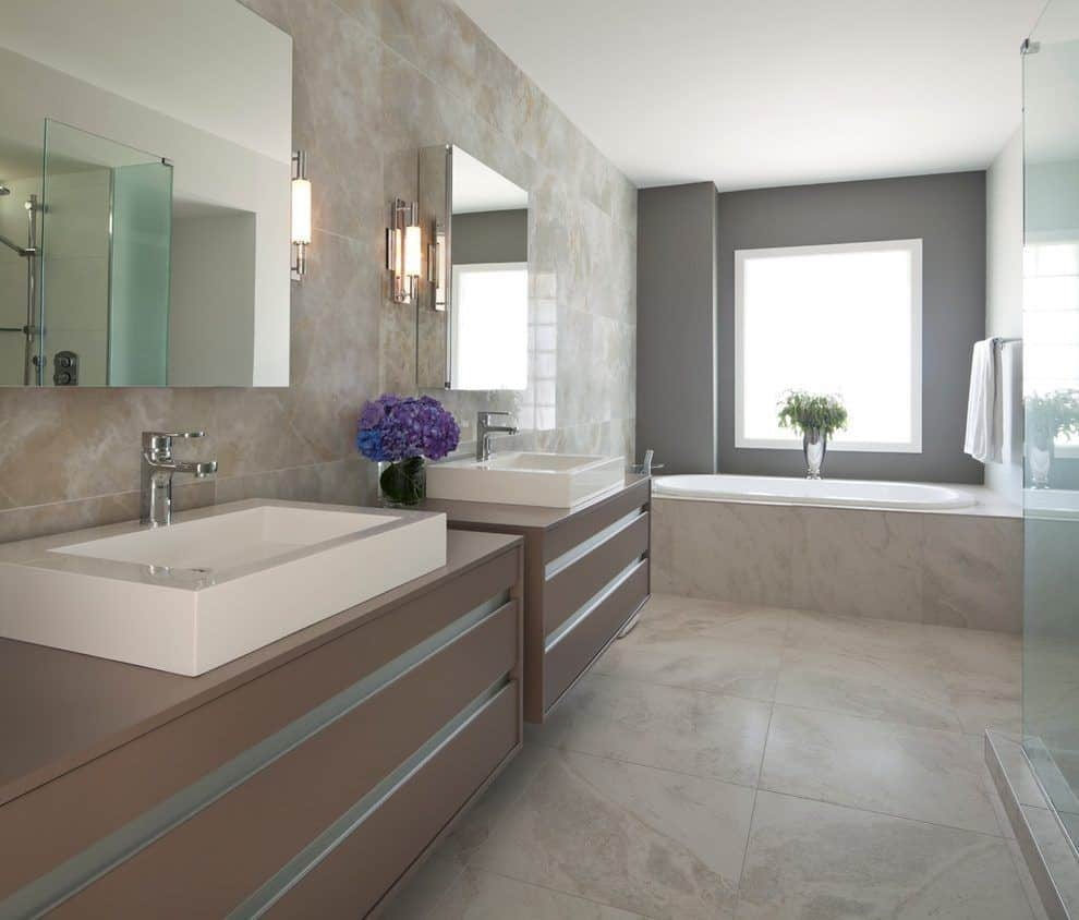taupe master bathroom Taupe Rooms That Are Anything But Boring