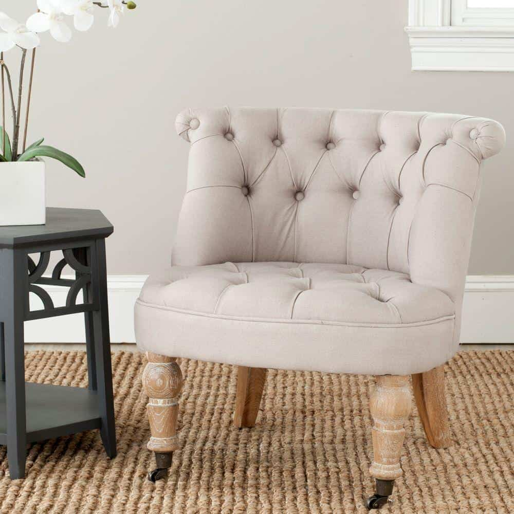 taupe tufted chair Taupe Rooms That Are Anything But Boring