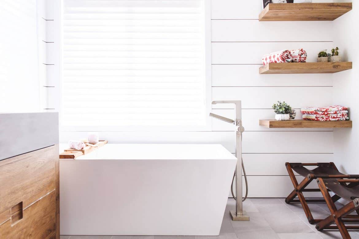 unfinished wood in bathroom Bathroom Shelving Ideas That Are Just As Charming