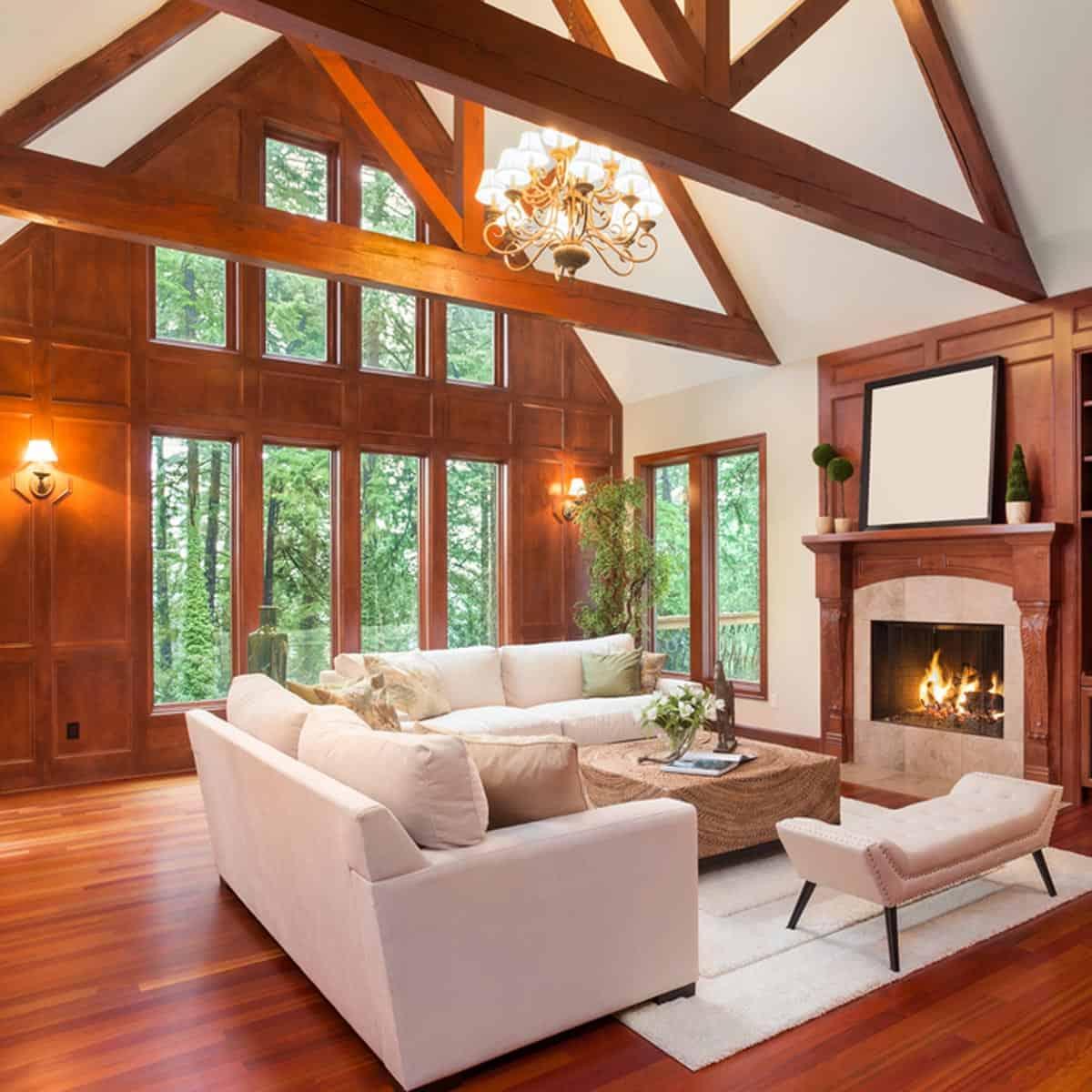 wood panel living room